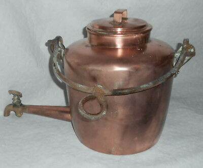 Vintage Large Georgian dovetailed hot water kettle, pot, urn with tap.