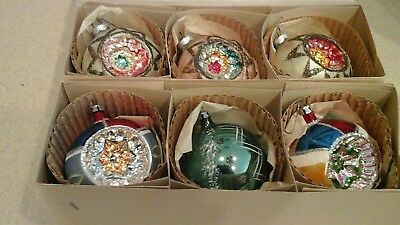 6 large vintage West Germany Glass indent Christmas ornament