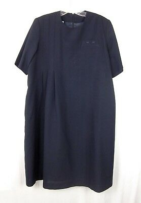 Vtg Continental Airlines Stewardess R&R Uniform Dress Flight Attendant Navy Blue