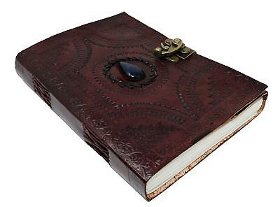 Large Leather Journal Celtic book of shadows blue stone blank refillable