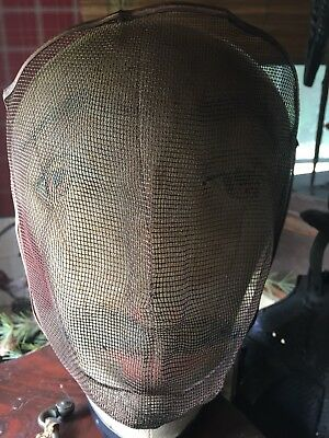 Vintage Odd Fellows Wire Mesh Ritual Mask Ceremonial Regalia Hand Painted Face