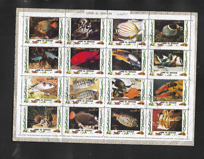 Umm Al Qiwain Postal Issue Used Air Mail Sheet 16 Stamps 1972 Tropical Fish