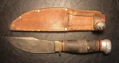 Vintage Pat. 1916 Marbles Gladstone Mich Fixed Blade Woodcraft Knife w/ Sheath