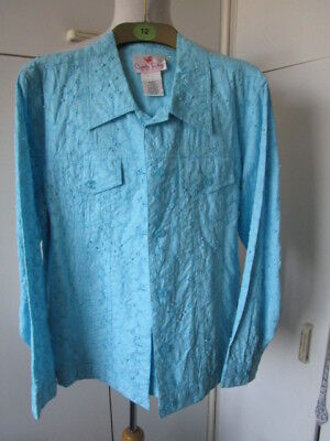 Gorgeous Vintage Turquoise Blue Broderie Anglaise Jacket - 10/12 Good cond