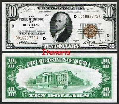 USA $10 National Currency - Federal Reserve Bank of Cleveland (Ohio) 1929 series