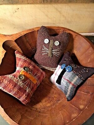 Primitive   Old Home Cats Bowl Fillers Set of 3  Autumn
