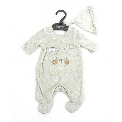 Ex Mothercare Baby Boys Beige Rabbit All In One Sleepsuit & Hat Tiny N/born 3 6