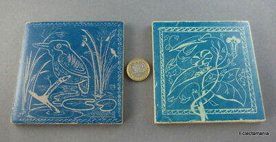"2 x Vintage Malkin 4"" Pottery Tiles - Kingfisher - One Signed JP"