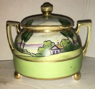 NIPPON ~ WOODLANDS ~ Hand Painted SUGAR BOWL ~ Nice Condtion ~ LOOK!!