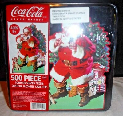 Vintage 500 piece Coke Coca-Cola Santa Shaped Puzzle in Sealed Metal Tin