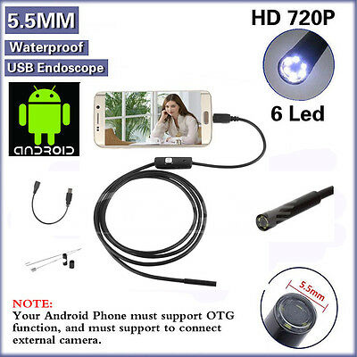 5M 6LED 7mm Android Endoscope Waterproof Snake Borescope USB Inspection Camera L