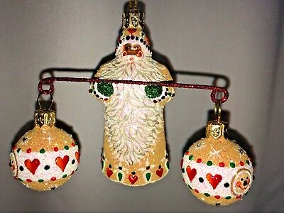 Patricia Breen Ornament/collectable,Balance, Gingerbread w/green glitter mittens