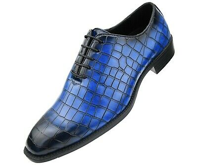 Bolano Mens Exotic Faux Croco Skin Oxford w/ Black Burnished Toe : Style Carmine