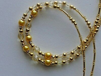 Elegant Gold Beads Handmade Beaded Lanyard Id Badge Holder Necklace Chain