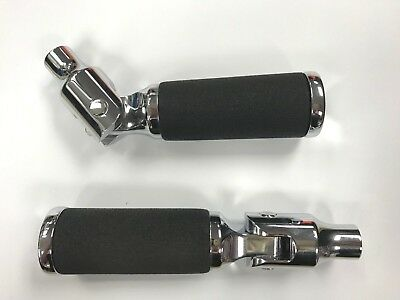 EXCEL CHROME BILLET FOOTPEGS STRAIGHT FOLD UP MOUNT 3/8-16 thread
