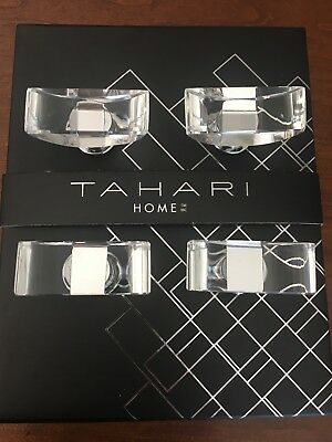 TAHARI HOME Set of 4 DRAWER KNOBS Pull Mirror Clear Crystal Boat Design New