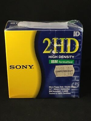 New Sony 2Hd 10 Pack Double Sided High Density Micro Floppy Discs Ibm Formatted