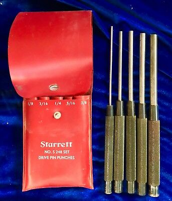 STARRETT Drive Pin Punches No. S 248 with Vinyl Case  5 Piece Set