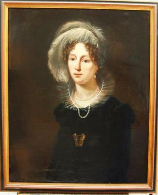 LARGE 19th Century PORTRAIT YOUNG LADY IN HER FINERY Antique Oil Painting