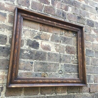 Gorgeous Antique Oak Wood Picture Frame Carved Detail, Large, c Victorian