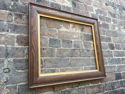 Antique Wooden / Oak Wood Picture Frame with Gold Gilt Slips, Large, c Victorian