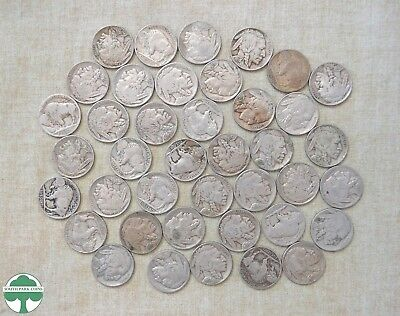 Roll Of 1938-D Buffalo Nickels - Circulated With Problems - 40 Coins