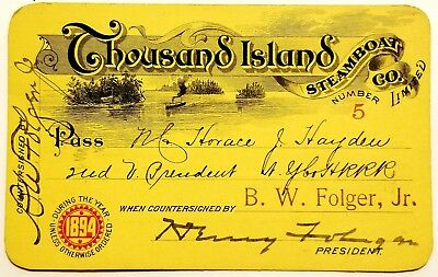 1894 Thousand Island Steamboat Company Limited Annual Railroad Pass