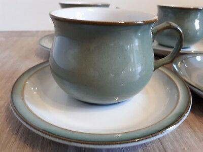 6 X Denby Vintage Retro ' Regency Green' Tea Cups & Saucers