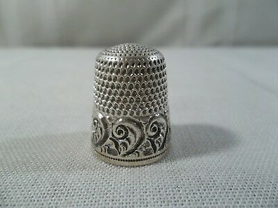 Antique Simons Brothers Sterling Silver Decorative Thimble #9 Philadelphia USA