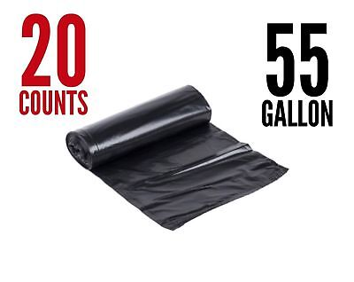 20 Large 55Gal 1.4 Mil Strong Commercial Trash Bag Heavy Garbage Duty Yard Black