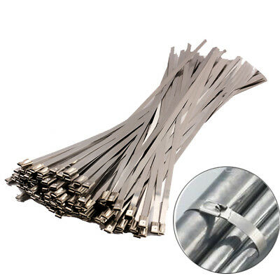 100Pcs 4.6x300mm Stainless Steel Header Wrap Straps Self Locking Cable Zip Ties