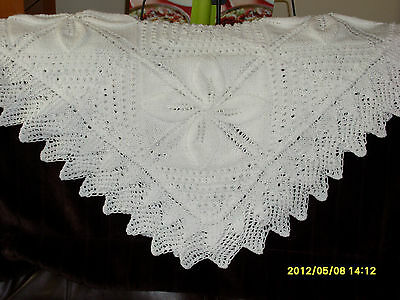 Beautiful Hand knitted Baby Shawl in Baby soft WHITE D.K.