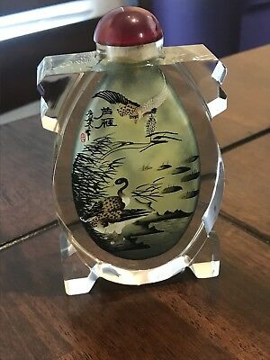 Chinese Glass Hand Painted Inside Snuff Bottle Signed