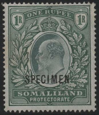 SOMALILAND: 1904 - Sg 41s - 1R Green Mounted Mint with Spec Overprint (18146)