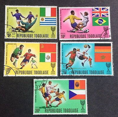 Football: 5 nice old canceled stamps Togo 1970