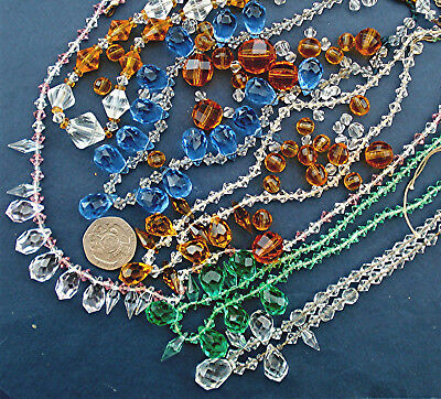 7 ART DECO CRYSTAL NECKLACES JOB LOT Rethread Spare Repair Vintage 1920s/30s