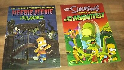 Simpsons Books Treehouse Of Horror Heebie Jeebie Hullabaloo & Frightfest Mint