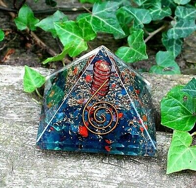 Reiki Large Bloodstone & Clear Quartz Revitalizing New Crystal Orgone Pyramid