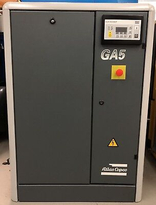 Atlas Copco GA5 Rotary Screw Compressor, 5.5Kw, 22Cfm! Great Condition! Low Hrs!