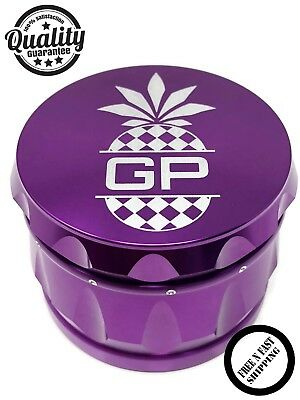 Tobacco Herb Grinder Spice Herbal Alloy Smoke Crusher 4 Piece Metal  **PURPLE**