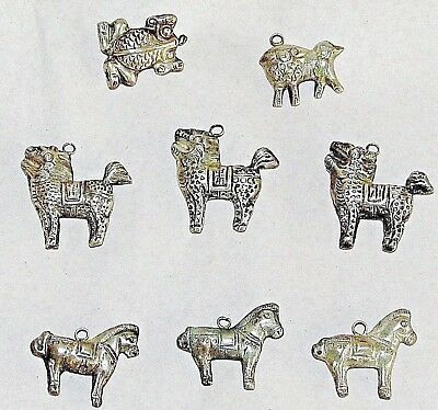 Antique Chinese Silver Repousse Jewelry Charms / 13 ANIMAL CHARMS / Folk Ethnic