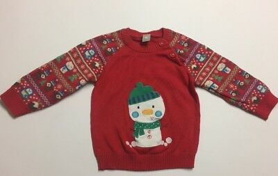 Tu Baby Boys Red Christmas Jumper Age 9-12 Months