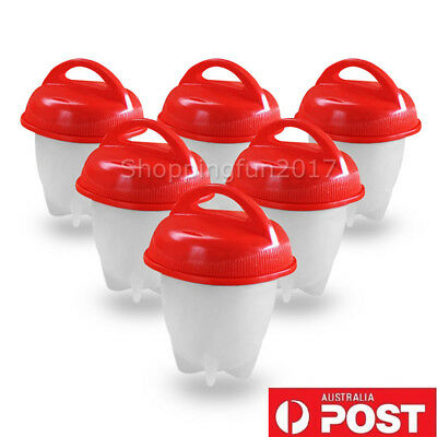 6 Egglettes Egg Cooker Hard Boiled Eggs Without the Shell Red Silicone Egg Cup X