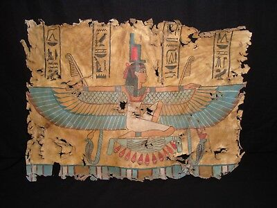 Rare Antique Ancient Egyptian Goddess Isis Double face On Leather 1279 -1213 BC