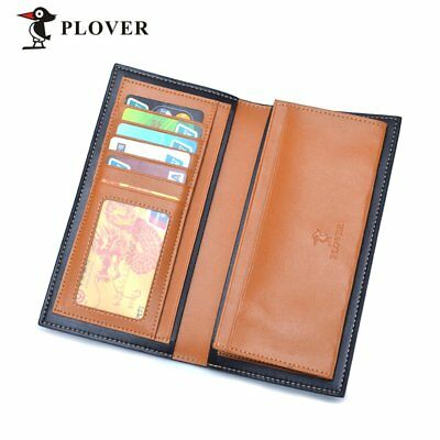 Casual PLOVER GD5909-8NA Men Long Wallet Cow Leather Solid Credit Card Wallet NS