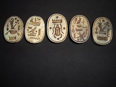 RARE ANCIENT EGYPTIAN ANTIQUE 5 Scarab Beetle New Kingdom HIEROGLYPHS 600-300 BC