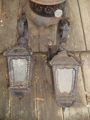Pair of American Victorian,Gothic Black wrought, cast iron Outdoor Wall Sconce