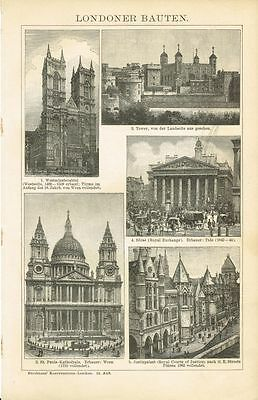 Tafel LONDON / WESTMINSTER CATHEDRAL / TOWER / ST. PAUL'S 1894 Orig.-Holzstich