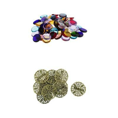 100g Colorful Round Glass Mosaic+10 Pieces Pin Back Blank Brooch Settings