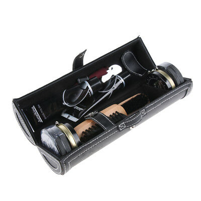 Shoes Polish Boots Shine Care Clean Brush Tools with Leather Case 10Pcs Kit